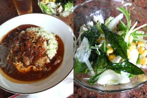 ハッシュドビーフとお茶の葉の素揚げサラダ